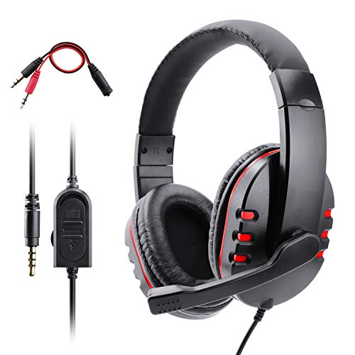 Gaming Kopfhörer für PS4 Xbox One, Dhaose Gaming Headset mit Mikrofon,3.5mm Surround Sound Over-Ear-Kopfhörer für PS4 Xbox One PC Laptop Tablet Mobile Phones
