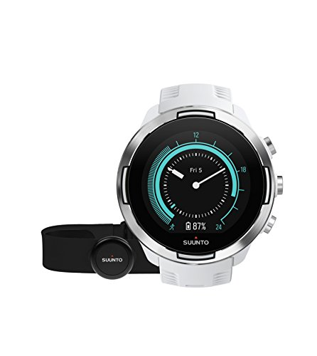 Suunto 9 GPS Sports Watch with Long Battery Life, Barometer and Wrist-Based Heart Rate + Heart Rate Belt (White)