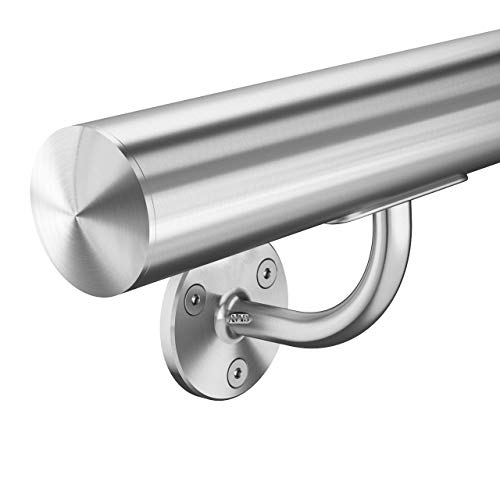 Edelstahl Handlauf V2A 42,4mm 240K geschliffen Wandhandlauf mit runder Endkappe Halbkugel UNGETEILT 1200 mm