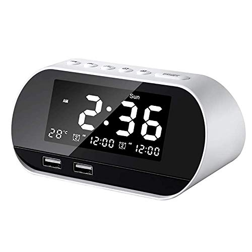 FM-Radio, Bed Wekkerradio Met 3,2 Inch Dimbare LCD Mirror Screen Snooze Functie En Dual USB Charge-Poort Voor Kids Bedroom Outdoor,White