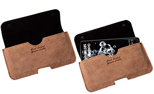 MATADOR Lederhülle Ledertasche Gürteltasche kompatibel mit Samsung A71 / Xcover PRO Tabacco Braun
