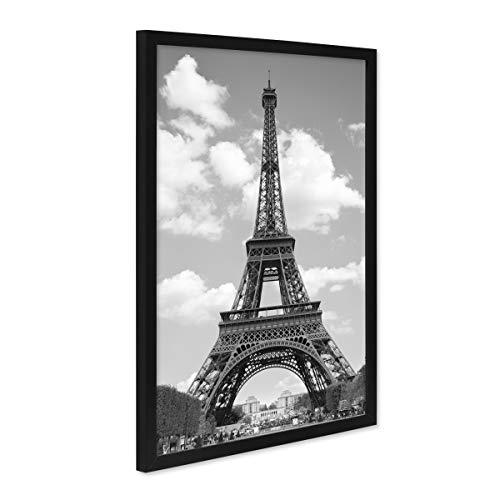 PHOTOLINI Poster mit Bilderrahmen Schwarz 'Eiffelturm' 30x40 cm schwarz-Weiss Motiv Foto Paris Skyline
