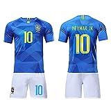 Conjunto de Ropa de fútbol para fanáticos, Adecuado para el Equipo Nacional de fútbol de Brasil, Camisa de fanáticos de visitante, Conjunto de Ropa Deportiva de Pantalones Cortos de Camiseta-#10bl