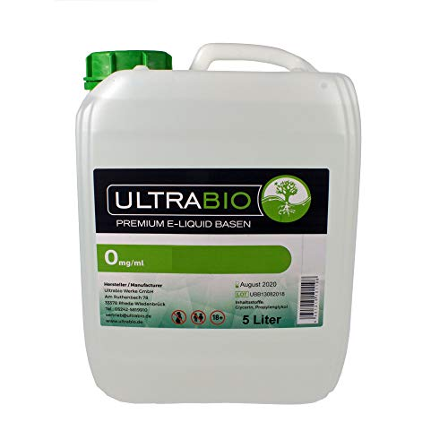 Ultrabio® Deutsche Basen 5000ml 5L 70/30 (70% VG / 30% PG) e liquid Base ohne Nikotin