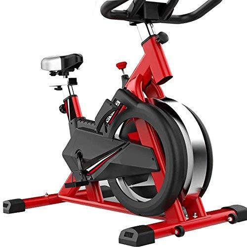 Bicicleta Estatica Interior,Bicicleta estática de interior con asas y asientos ajustables, volante cromado, carga de 150 kg, bicicleta estática y entrenador abdominal, equipo de ejercicio ideal,Rojo