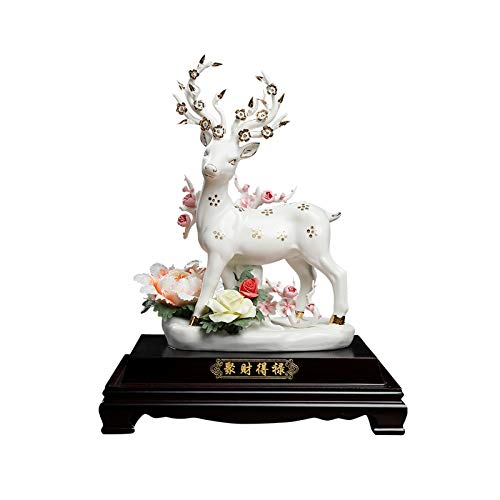 Artesanías decoración Ornamento de ciervos de cerámica Animales Figuros Familia Home Craft Ornament Ciervo Sculpture Regalo decorativo Adecuado para gabinete de vino TV Showcases Figura de adorno