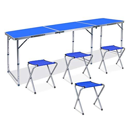 MENG 1,8M 6-voudige klaptafel picknicktafel hoogte van aluminiumlegering in hoogte verstelbare draagbare tuintafel voor barbecue picknickparty (blauw) met handgreep +4 stool blauw