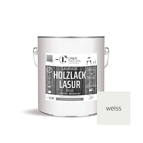 LINEA NATURA® - Holzlack Lasur halbdeckend   Innenlasur   Holzlasur   Möbel   Parkett u.- Treppen im Innenbereich 2,5 Liter - weiß