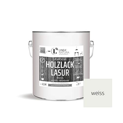 LINEA NATURA® - Holzlack Lasur halbdeckend | Innenlasur | Holzlasur | Möbel | Parkett u.- Treppen im Innenbereich 2,5 Liter - weiß