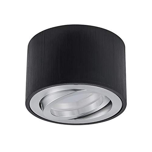HCFEI kleiner Aufbau Deckenspot LED schwenkbar - mit tauschbarem LED Modul 5W warmweiß 230V dimmbar- Aufputz Spot Schwarz (1er Set)