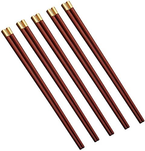 Palillos reutilizables chinos palillos de madera lavavajillas seguras de vajillas portátiles de vajilla de los palillos, palillos de madera natural para comer comida, un par de 10 sets-a