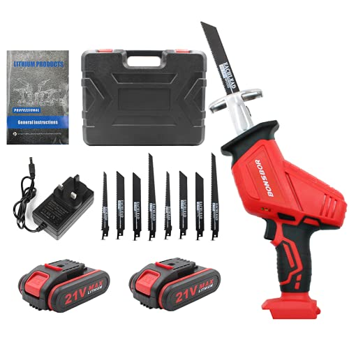 BONSBOR 21V Cordless Reciprocating Saw with 2 Rechargeable Li-ion Batteries, US Plug Charger, Saw Blades and Carrying Case red+blue (RED)