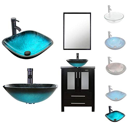 LUCKWIND Bathroom Vanity Vessel Sink Combo – 24 Cabinet Stand Mirror Artistic Glass Round Vessel Sink Faucet Drain ORB Single Storage (2 Door 2 Drawer Single - Espresso - Caribbean Blue Glass Vessel)