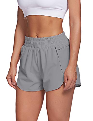 LaLaLa Womens Activewear Yoga Running Shorts with Liner Elastic Waist Workout Athletic Shorts with Pocket (S, Light Grey)