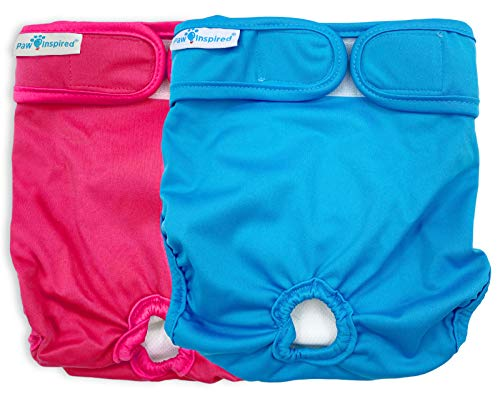 Paw Inspired Washable Dog Diapers | Reusable Dog Diapers | Washable Female Dog Diapers | Cloth Dog Diapers for Dogs in Heat, or Dog Incontinence Diapers (X-Large (2 ct.), Assorted (White Lining))