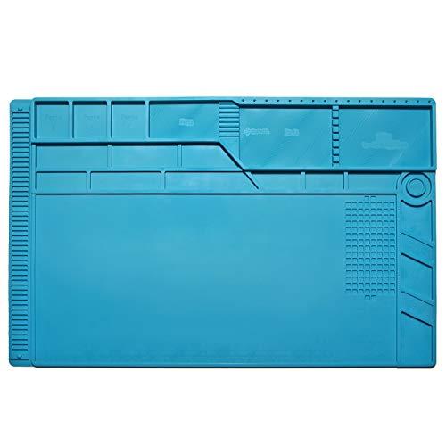 Smilelove 55x 35cm Lötmatte Antistatische Reparatur Matte, Aweohtle Magnetische 500℃ Hitzebeständige Silikonmatte Arbeitsmatte für Kamera Elektronische Laptop Handy Reperatur, Maximale (groß 55x 35cm)
