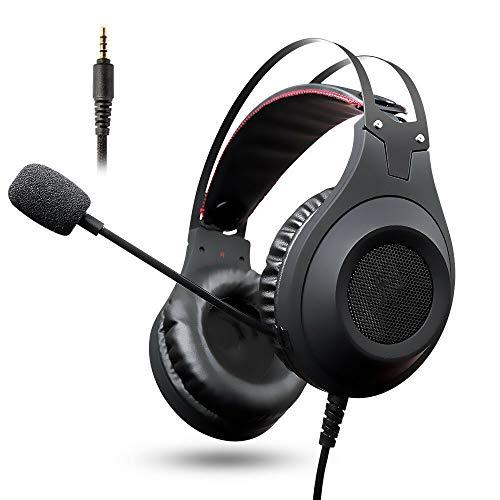 IOIOA Montado en la Cabeza Auricular para Juegos, 50 mm de Alto Flujo Stereo Surround Gaming Headset con micrófono para PC portátil PS4