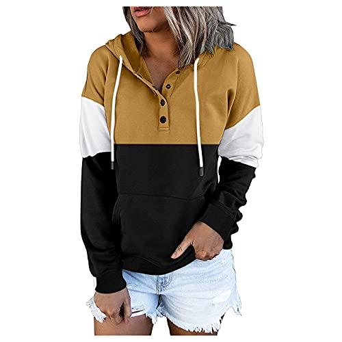 Briskorry Sudadera con capucha para mujer, de gran tamaño, con bolsillo frontal, deportiva, holgada, con botones, de manga larga, amarillo, S
