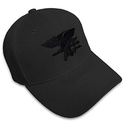 Baseball Cap Navy Seal Black Logo Embroidery Military Insignias Acrylic Hats Strap Closure Black Design Only