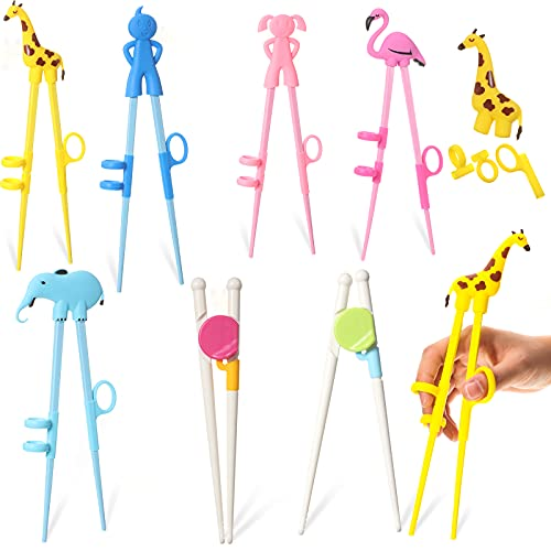 7 Pairs Kids Training Chopsticks Cute Animals Chopsticks Learning Chopstick Helper with Attachable Trainer Chopstick Set for Children Beginners Adults, Easy To Use, Reusable and Dishwasher Safe