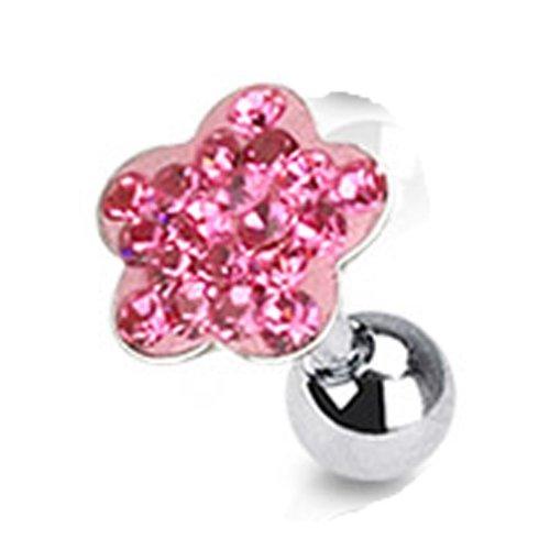 Helix piercing roze bloem