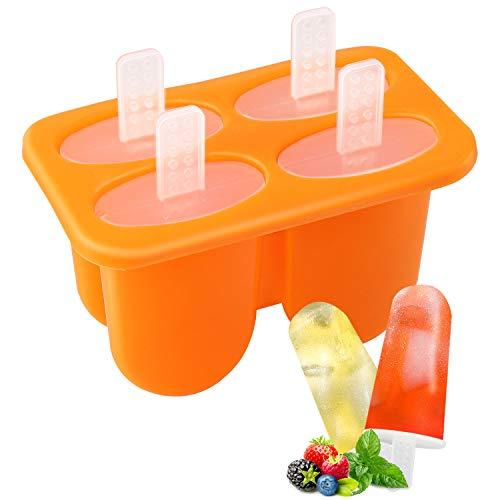 Nuovoware Eisformen, 4 Fach Mini Popsicle Eis am Stiel Formen mit Sticks, PP Silikon Material BPA Frei, Perfekt DIY Werkzeug für Familie Küchen Kind Summer - Orange