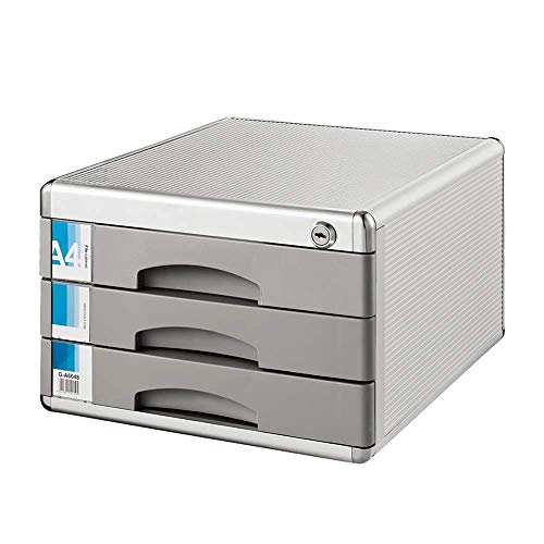 YASEking Archiviazione File Governo del cassetto armadi Desktop 3 strati cassetto con serratura Office Document Storage Box a più strati di dati Classificatori (Colore: Argento, Dimensione: 30x36x20.5