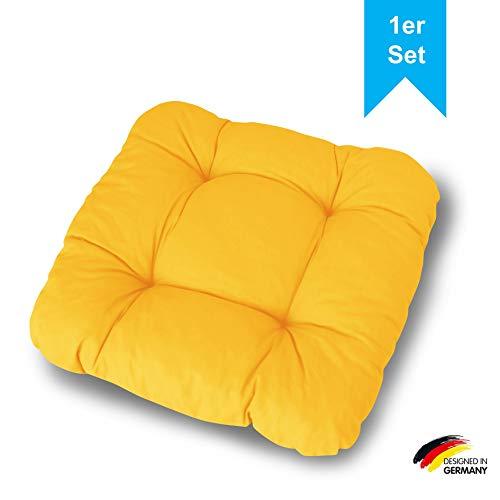 LILENO HOME 1er Set Stuhlkissen Gelb (38x38x8 cm) - Sitzkissen für Gartenstuhl, Küche oder Esszimmerstuhl - Bequeme UV-beständige Indoor u. Outdoor Stuhlauflage als Stuhl Kissen