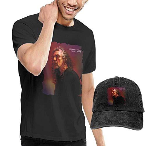 Thimd Herren T-Shirt und Kappe Schwarz, Robert Plant Carry Fire T Shirt Washed Denim Baseball Dad Hats Black