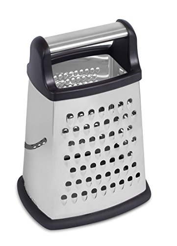 Internet's Best Stainless Steel Box Grater - 4 Sided Grater and Slicer - 8.5 Inch - Hand Shaver for Cheese Fruit Vegetable Root Nuts - Non-Slip Bottom