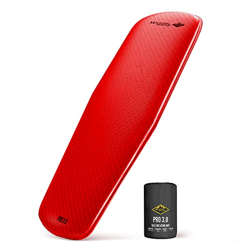 Sleeping Pad and Sleeping Mat for Camping - 1.5 Inch Thick Camping Pad Self Inflates and Uses Advanced Technology for Comfort - Camping Gear by Mountain Designs - Pro 3.8 Red Camping Mat