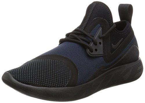 Nike Hombres Lunarcharge Essential Bajos & Medios Cordon Zapatos para Caminar, Black/Dark Obsidian-Volt, Talla 6