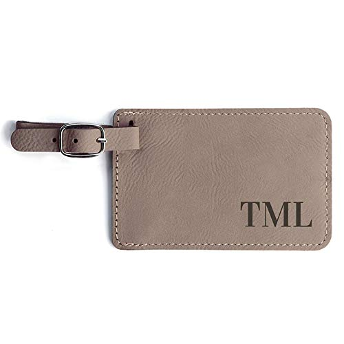 Monogrammed Luggage Tag - Personalized Vegan Leather Bag Tag with Initials (Light Brown)