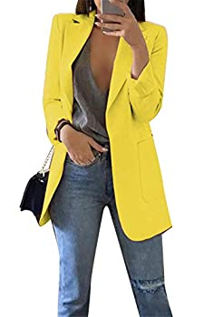 OMZIN Womens Padded Solid Suits Jacket Lapel Collar Pockets Simple Blazer Yellow L