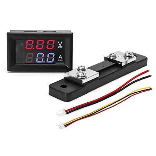 QWORK DC Power Monitor, DC0-100V Digital Voltmeter Ammeter Panel, 0-50A Volt Tester Amp Detector, LED Volt Amp Tester Gauge Multimeter with 2 Wires
