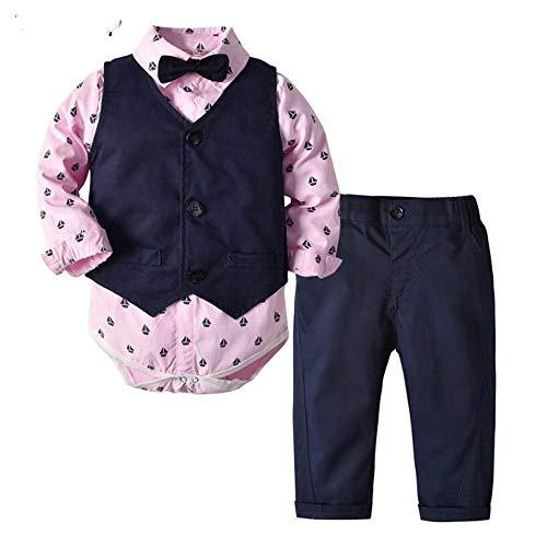 AOQW Ropa Infantil De Moda De Otoño Superior Y Superior, Traje De Bebé, Ropa para Bebés, Caballero, Pajarita, Mamelucos, Chaleco, Pantalones, Conjunto De Bebé-Pink_18M