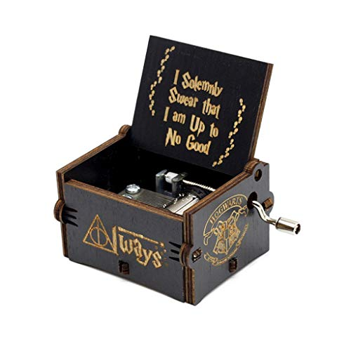 LYL Wood Music Box Castle in The Sky Theme Music Box Kids Jewellery Box for Kids,Friends (Color : Black H)