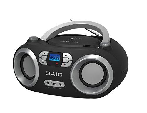 OUTMARK BAIO TRAGBARER CD-Radio-Bluetooth-Player USB AUX-IN MP3 Fernbedienung LCD-Display MIT Blauer Beleuchtung FM-Radio KOPFHÖRERANSCHLUSS 2 x 1,5W RMS Boombox (Black)