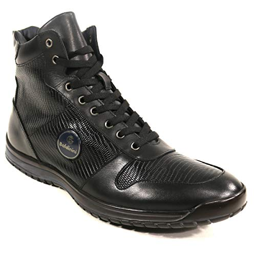 Baldinini Italian Shoes Men's Black Leather and Suede Winter (43, Leather Winter Boots)