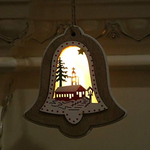 AKDSteel 3D Holzrahmen Weihnachtsbeleuchtung Anhänger Dekorative Nachtlicht Weihnachtsschmuck Festliche Weihnachtsdekoration Glocke