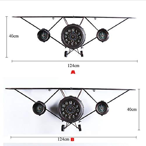 Metalen Vliegtuigen Wandplank Creatieve Vliegtuigen Muur Opknoping Metalen Opslag Plank Muur Opknoping Decor Vintage Vliegtuigen Wandklok,Brass,124x40cm