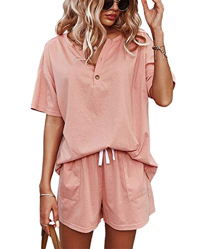 CORSKI Women's Short Sleeve Sweatsuit Sets Lounge 2 Piece V Neck Tracksuit Casual Loose Fit Outfits Pink L