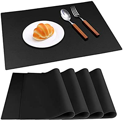 IVYOUNG Large Reusable Silicone Placemats for Dining Kitchen Table Heat-Resistant Baking Mat Countertop Protector, Non-Slip Flexible Washable Dining Mats(Set of 4,Black)