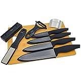 Ceramic Knife Set Kitchen Knives - Bamboo Cutting Board File Sharpener Peeler Finger Guard
