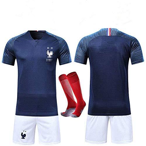 Rongli - Camiseta de fútbol de 2 Estrellas con Calcetines y Accesorios para Hombre y niño, Azul, Tag26