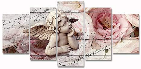 Guardian Angel Flower Painting Religious Wall Art Pictures Print on Canvas