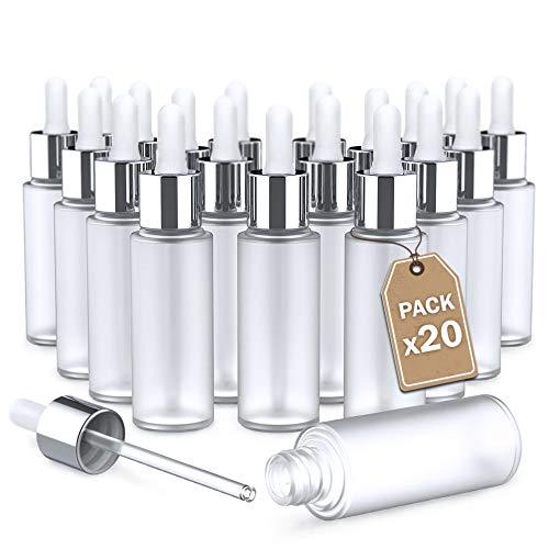 LG Luxury & Grace Pack 20 Goteros, 30 ml. Botellas Cuentagotas de Cristal Esmerilado. Cierre de Rosca y Pipeta de Cristal. Botellas Rellenables. Dosificación y Almacenamiento de Sustancias Líquidas.