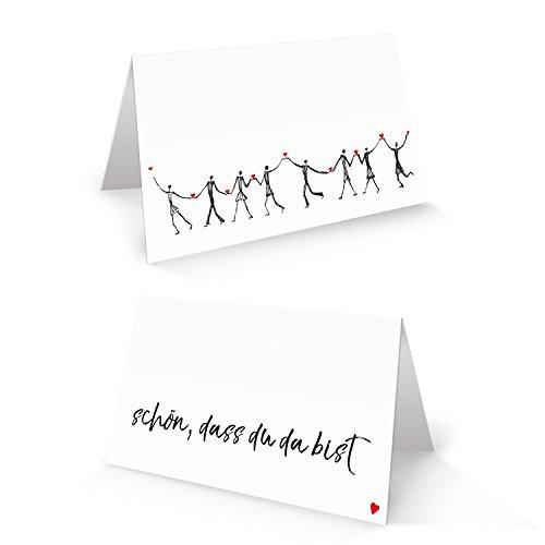 50 HERZMENSCH Tischkarten Namensschilder Text SCHÖN DASS DU DA BIST schwarz weiß rot Herz Tischdeko Hochzeit Taufe Geburtstag Firmung Jubiläum Fest