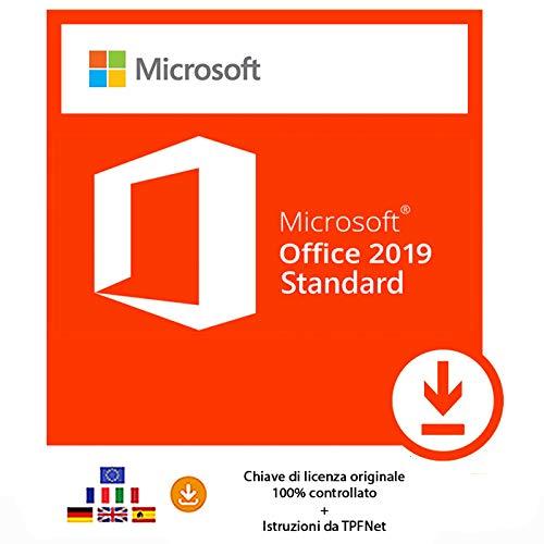 MS Office 2019 Standard 32 bit e 64 bit - Chiave di Licenza Originale per Posta e E-Mail + Guida di TPFNet® - Spedizione max. 60min
