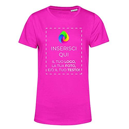 Teetaly Maglietta T-Shirt Donna con Stampa Personalizzata (Fucsia, XS)